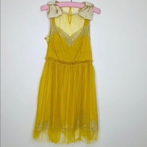 Rodarte | Gold Slip Dress With Bow Shoulders